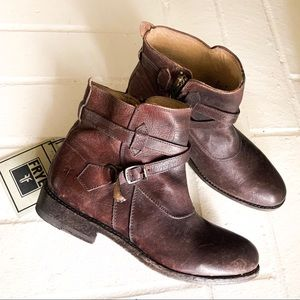 FRYE Brown Ankle Buckle Boots